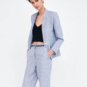Zara Gingham Blue and White Blazer NWT